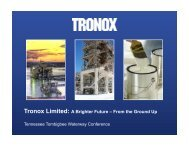 Tronox Limited: A Brighter Future – From the Ground Up