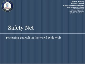 SafetyNet - Office of the Attorney General - Commonwealth of Virginia