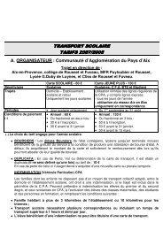 transport scolaire transport scolaire tarifs 2007 ... - Mairie-de-trets.fr