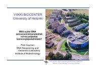 VIIKKI BIOCENTER University of Helsinki