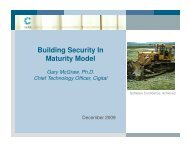 Building Security In Maturity Model Gary McGraw, Ph.D. - Cigital