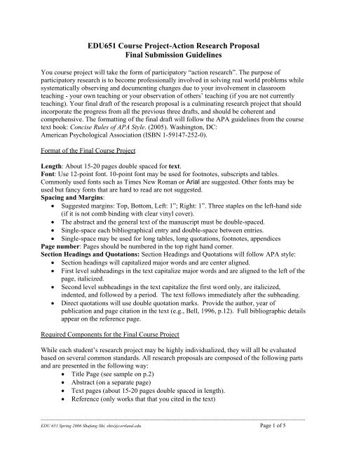 Edu651 Course Project Action Research Proposal Final Submission