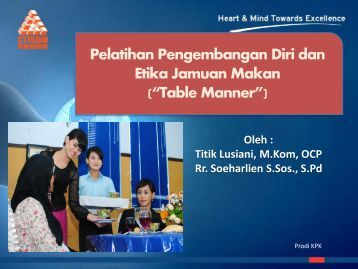 Materi pelatihan table manner - Blog Sivitas STIKOM Surabaya