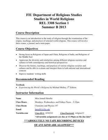 Syllabus - Department of Religious Studies