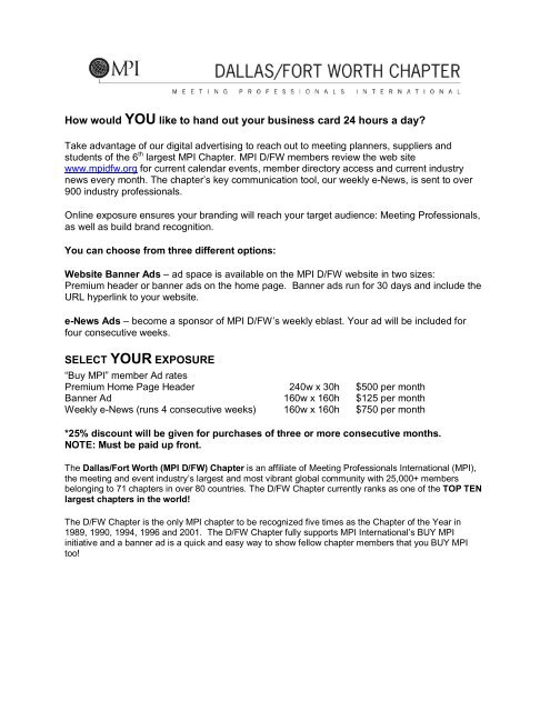 Website Banner Advertising Rates & Application Form - Meeting ...