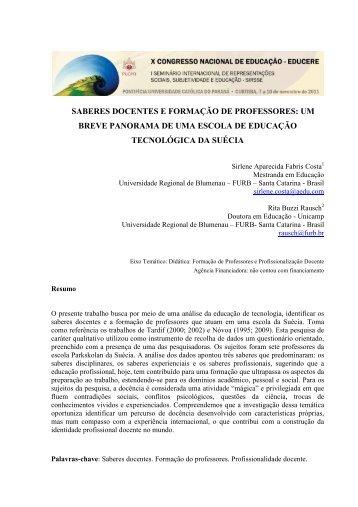 SABERES DOCENTES E FORMAÇÃO DE PROFESSORES: UM ...