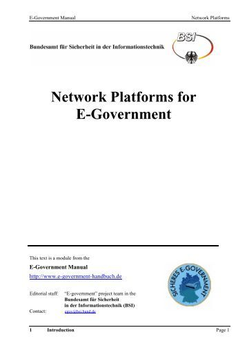 Network Platforms for E-Government - Bundesamt für Sicherheit in ...