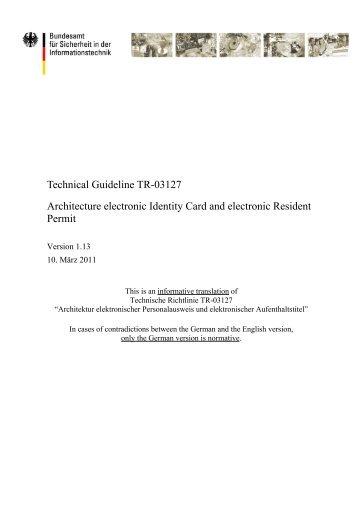 Technical Guideline TR-03127 - Bundesamt für Sicherheit in der ...