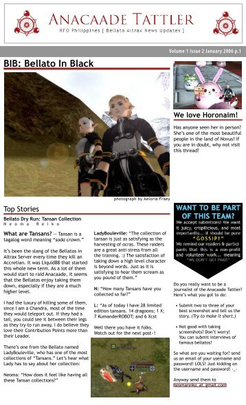 January Issue 2006 - Anacaade Tattler