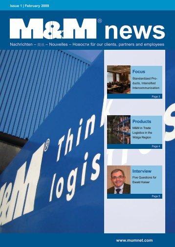 M&M News - Issue 1 / February 2009 - M&M Militzer & Münch