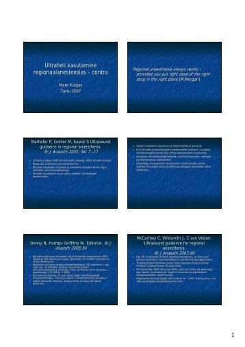Ultraheli kasutamine regionaalanesteesias - contra