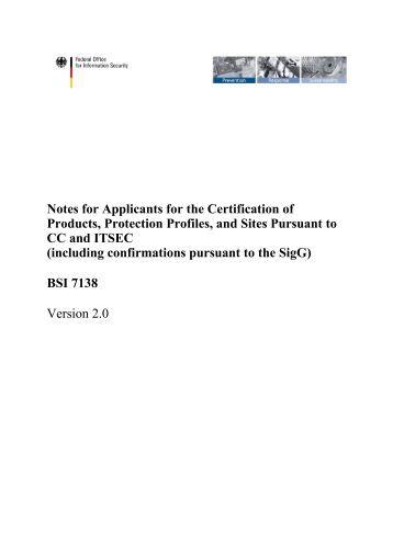 BSI 7138 - Bundesamt für Sicherheit in der Informationstechnik