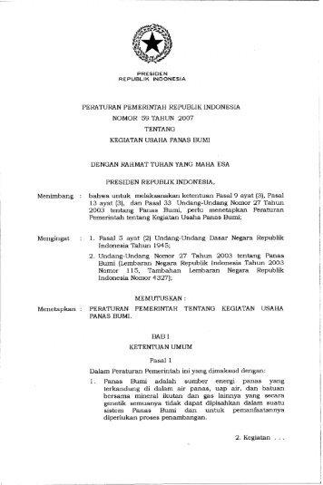 peraturan pemerintah republik indonesia nomor 59 tahun 2007