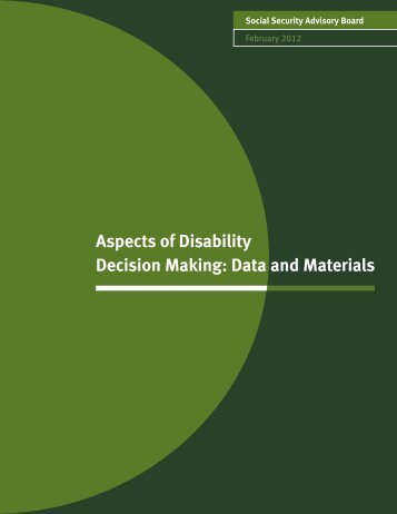 Aspects of Disability Decision Making: Data and Materials