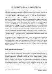 un nuovo approccio: la psicologia positiva - Marco Vicentini