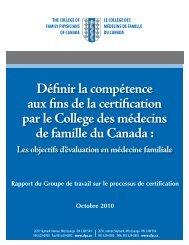 Définir la compétence aux fins de la certification - The College of ...