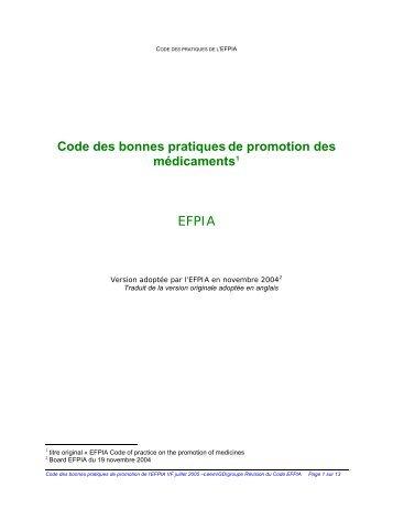 Code des bonnes pratiques de promotion - Conseil National de l ...