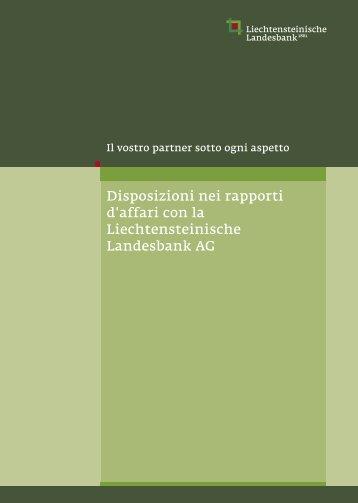 Disposizioni nei rapporti d'affari con la Liechtensteinische ...