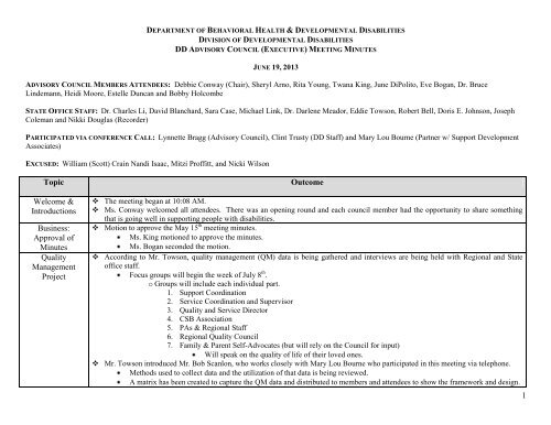 Minutes - Department of Behavioral Health and Developmental ...