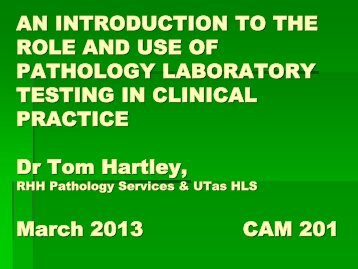 an introduction to the role and use of pathology laboratory testing in ...