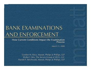 bank examinations and enforcement bank examinations and ...