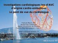 Investigations cardiologiques lors d'AVC d'origine cardio-embolique ...