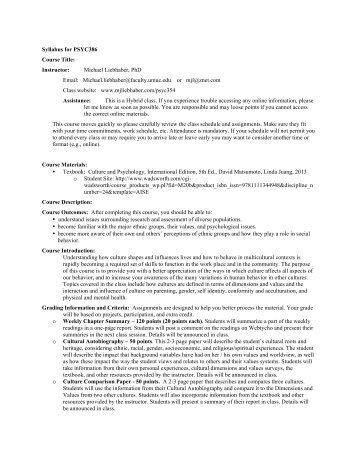 Syllabus for PSYC386 Course Title: Instructor ... - UMUC Faculty