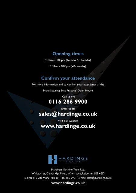 0116 286 9900 sales@hardinge.co.uk www.hardinge.co.uk
