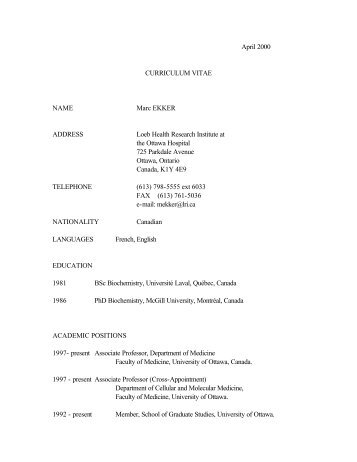 April 2000 CURRICULUM VITAE NAME Marc EKKER ADDRESS ...