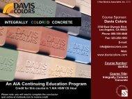 Davis Colors COLORED CONCRETE - Ron Blank & Associates, Inc.