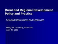 Rural and Regional Development Policy and Practice