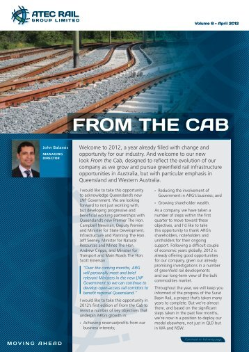 From the Cab - April 20112 - ATEC Rail Group Limited