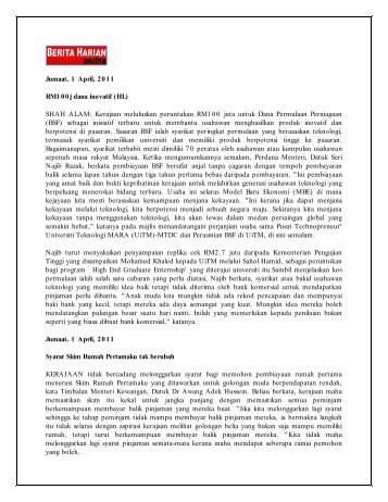 Jumaat, 1 April, 2011 RM1 0 0 j dana inovatif (HL) - Jabatan Audit ...