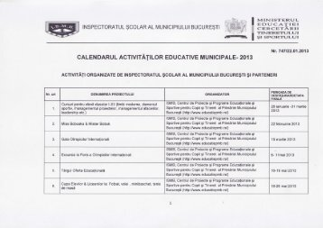 Calendarul activitatilor educative municipale 2013 - Inspectoratul ...