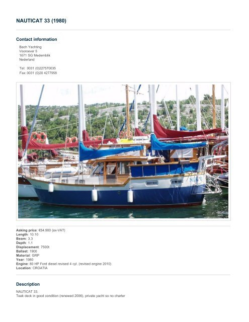 NAUTICAT 33 (1980) - Salona Yachts