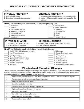 Printables Worksheet On Chemical Vs Physical Properties And Changes Answers worksheet 11 physical and chemical changes intrepidpath properties 2