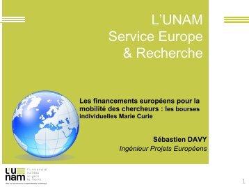 Les bourses individuelles Marie Curie - Service Europe et recherche