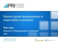 Recent global developments in responsible investment - Spainsif