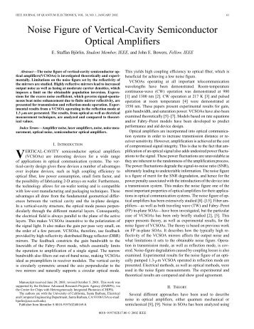 Noise figure of vertical-cavity semiconductor optical amplifiers ...