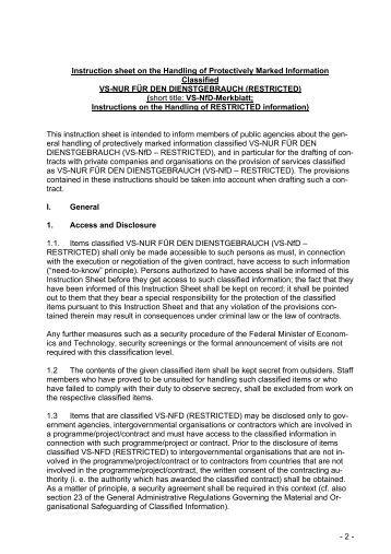 VS-NfD-Merkblatt Englisch - Bundesamt für Sicherheit in der ...