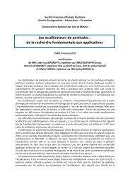 Les accélérateurs de particules : de la recherche ... - SFEN