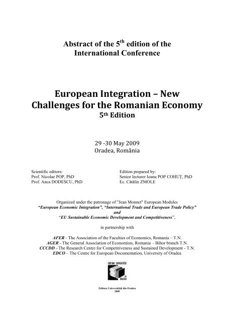 European Integration – New Challenges for the Romanian Economy