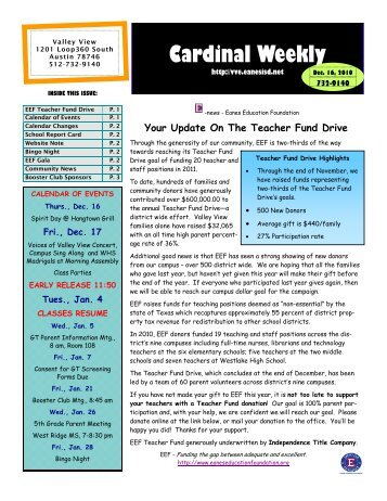 Cardinal Weekly - Valley View Elementary