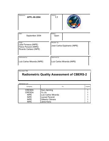 Radiometric Quality Assessment of CBERS-2 - OBT - Inpe