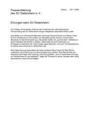 Pressemitteilung des SV Dietersheim e. V. Ehrungen beim SV ...