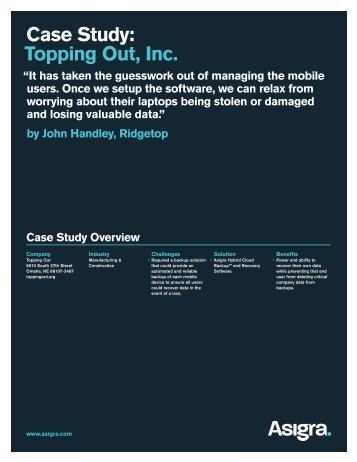 Case Study: Topping Out, Inc. - Asigra