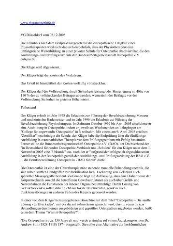 www.therapeuteninfo.de VG Düsseldorf vom 08.12.2008 Die ...