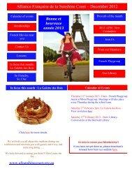 Alliance Française de la Sunshine Coast – December 2012 Newsletter