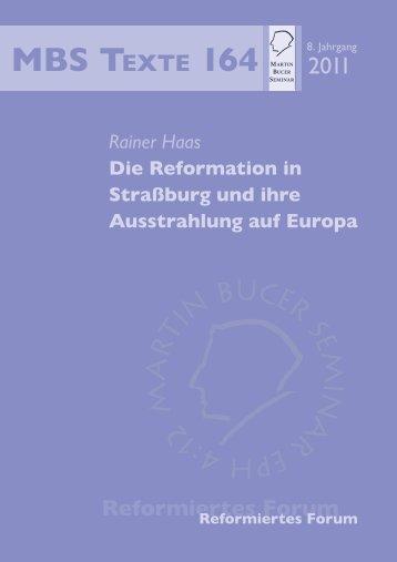 die reformation in strassburg und ihre ausstrahlung auf europa