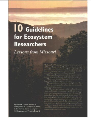 Ten Guidelines for Ecosystem Researchers: Lessons from Missouri